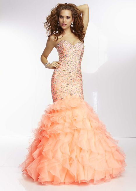 a94f1154f1a Coral Long Sparkly Beaded Mermaid Prom Dress  Mori Lee 95076 Coral  -   240.00   Hot Sale Prom Dresses   Homecoming Dresses For Cheap