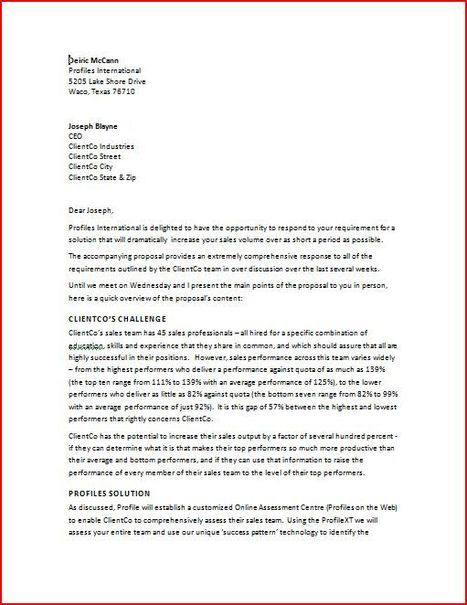 Business Proposal Cover Letter  Sample Cover L