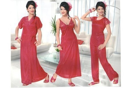 fb9119c935 Indiatrendzs Women s Hot Red Silk Satin Nighty 5 pc Sets Bedroomwear -Free  Size  Amazon.in  Clothing   Accessories