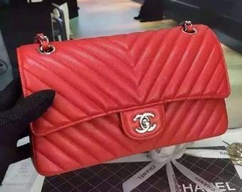 Chanel Grained Calfskin Chevron Classic Flap Medium Bag A01112 Red 2016 bc5b92000bdfe