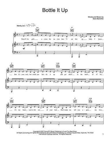 Free Piano Sheet Music Bluebird Sara Bareilles