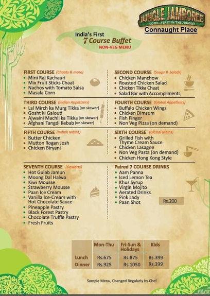 seven course non veg buffet menu rangdebasant