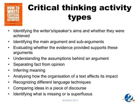 critical thinking activities in teaching english