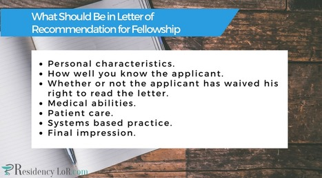 content of letter of recommendation for fellowship