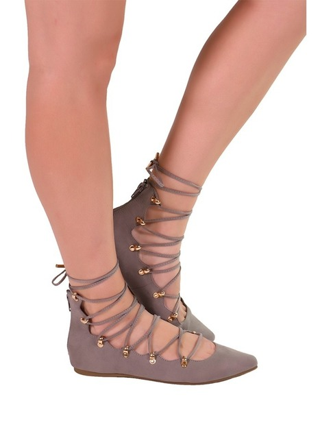 5362cda1376 Shop Gray Lace Up Flat Gladiator Sandals by Liliana Mila - Heels and Jeans