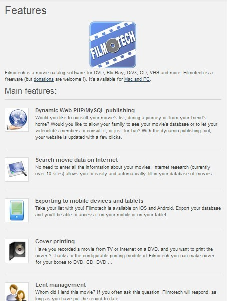 Filmotech is a movie catalog software for DVD, Blu-Ray, DiVX, CD, VHS and more.   VI Tech Review (VITR)   Scoop.it