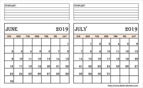 Blank Two Month June July 2019 Calendar Pr