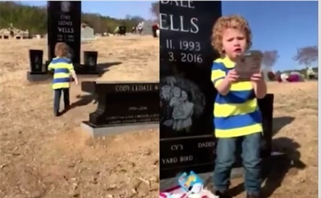 Watch 2-Year-old's Excitement Over Gift Found on Dad's Grave - Good News Network | This Gives Me Hope | Scoop.it