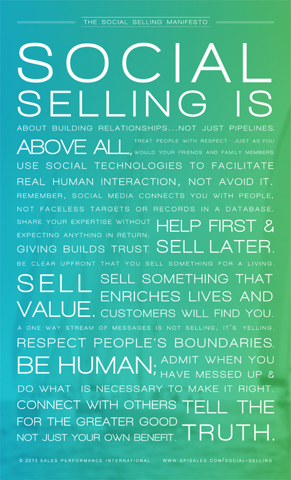 THE SOCIAL SELLING MANIFESTO - Sales Performance Optimization & Solution Selling - Solution Selling® Blog | Social Selling:  with a focus on building business relationships online | Scoop.it