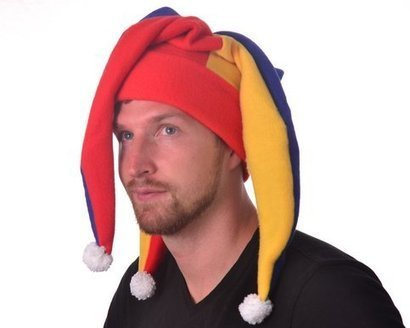 8699e8bb50e Jester Hat Red Blue Gold Long Pointed Fools Cap with Pompoms from Mountain  Goth
