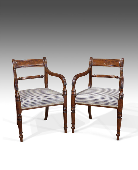 Pleasing Pair Of Regency Open Arm Chairs Pair Of Carver Machost Co Dining Chair Design Ideas Machostcouk