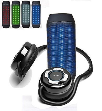 Bluetooth Speaker with Disco LED Lights Strap Vibrant Plush Wireless Blue New
