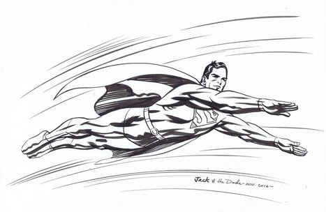 """Superman after Jack Kirby Pen and Ink Sketch 