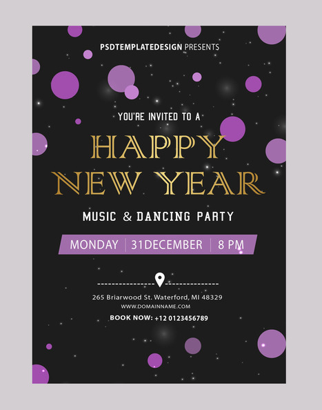 New Year Party Invitations Card Template Psd