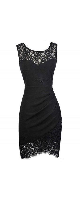 Lily Boutique Black Lace Trim Pencil Dress, Bla