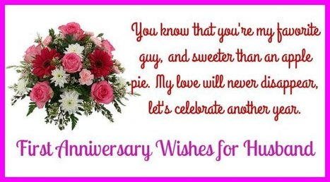happy first wedding anniversary message to my h