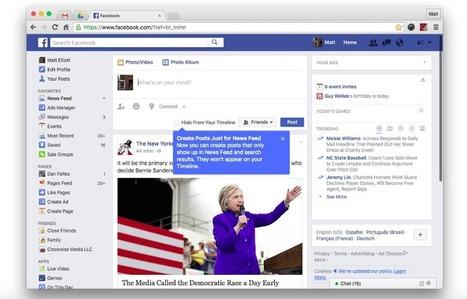 Facebook teste une fonction de partage en dehors de votre timeline - FrAndroid | Environnement Digital | Scoop.it