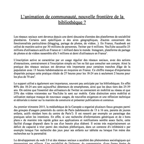 L'animation de communauté nouvelle frontière de la bibliothèque [romain Gaillard Biennale du numérique ENSSIB2015] | bibliotheques, de l'air | Scoop.it
