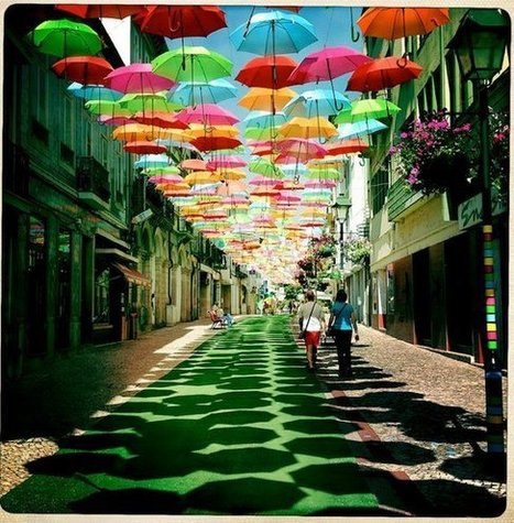 Global Street Art • A very pretty umbrella installation from Portugal...   World of Street & Outdoor Arts   Scoop.it