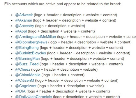 A List of Brands on Ello - Brandle, Inc. | Niche Social Networks | Scoop.it