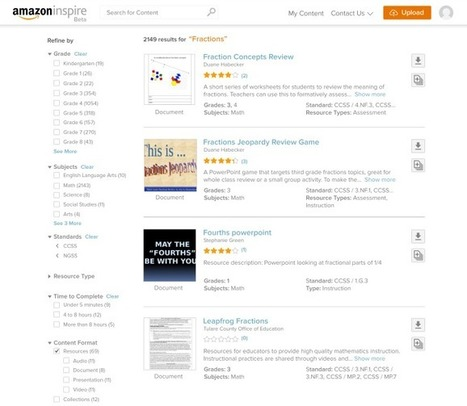 Amazon Launches 'Inspire,' a Free Education Resource Search Platform for Educators (EdSurge News)   EdTech   Scoop.it