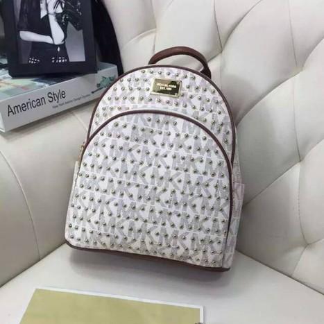 f65c2b2bba0c MICHAEL Michael Kors Micro-Stud Jet Set Travel Logo Leather Small Backpack  White
