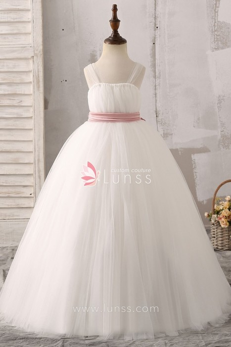 a0a83bf837f Ball Gown Illusion Tulle Straps White Floor-Length Flower Girl Dress with  Pink Bowknot - Lunss Couture