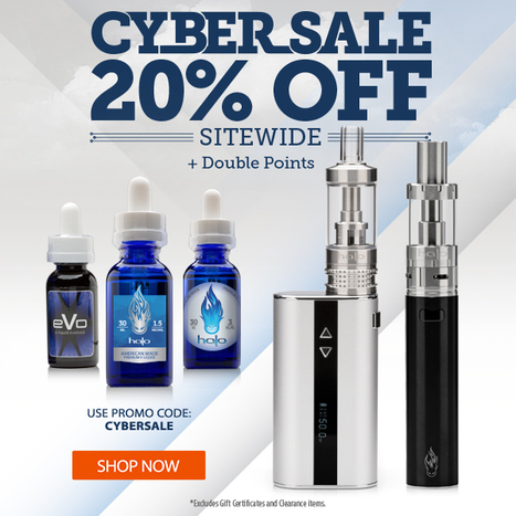 Cyber Sale: 20% Off Everything + Double Points . Use promo code: CYBERSALE | E-Cigarettes | Halo Cigs | Scoop.it