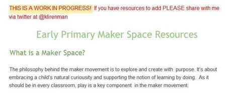Early Primary Maker Space Resources - @klirenman - Google Docs | iPads in the Elementary Library | Scoop.it