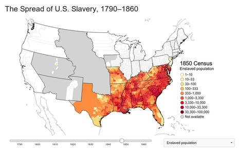 The spread of US slavery, in one haunting map | History and Social Studies Education | Scoop.it