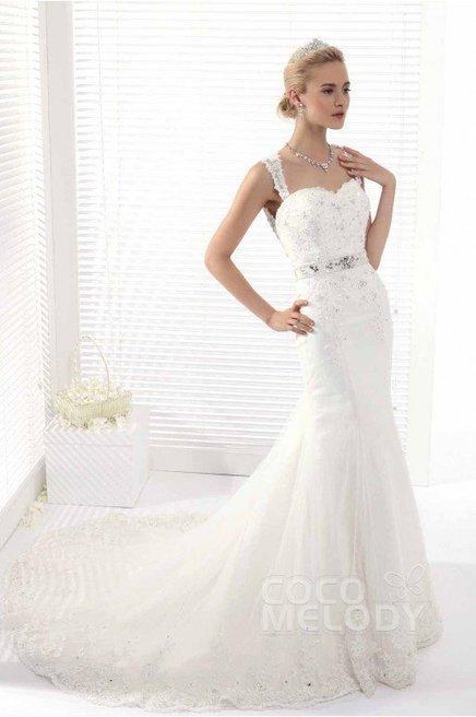 42fd95bd5dfd Cocomelody Trumpet-Mermaid Straps Chapel Train Tulle Open Back Wedding Dress