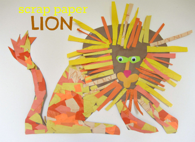 Scrap paper lion no time for flash cards pl for Lion crafts for toddlers