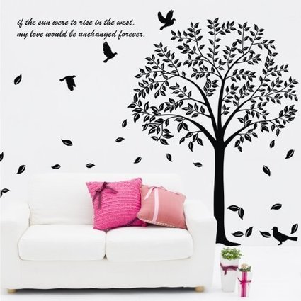 1221 trees are 6 feet tall Birch Tree Forest with Deers and Flying Birds Baby Giant Wall Sticker Decals Cherry Creek Inc