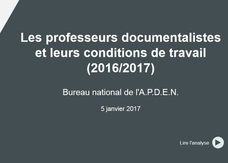 [APDEN] Les professeurs documentalistes et leurs conditions de travail. | Professeur documentaliste | Scoop.it