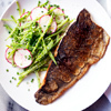 Crispy Rainbow Trout with Snow Pea Salad and Spiced Yogurt Dressing | À Catanada na Cozinha Magazine | Scoop.it