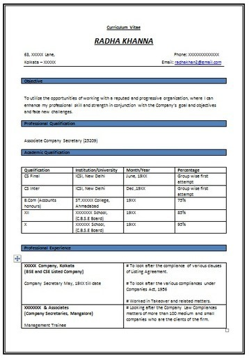 Superbe Over 10000 CV And Resume Samples With Free Download: Resume Format For  Experienced Company Secretary