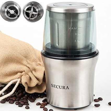 Cuisinart cgc 4bcpc mini prep plus food proce secura electric coffee grinder spice grinder with 2 stainless steel blades removable bowl fandeluxe Image collections