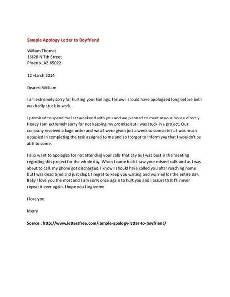 Personal Apology Letter Example  Sample Letter