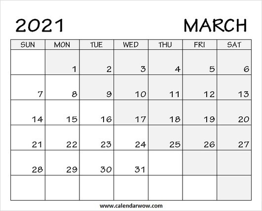 Print Blank March 2021 Calendar with Notes