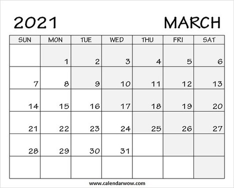Print Blank March 2020 Calendar with Notes
