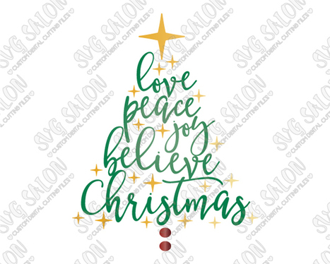 Christmas Tree Word Art Cut File in SVG, EPS, D