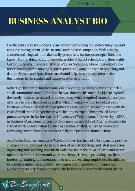 Business Analyst Bio Sample | Biography Samples...