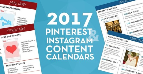 FREE 2017 Pinterest and Instagram Content Calendars | Pinterest | Scoop.it