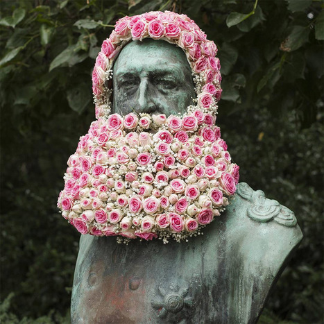 #Florist Geoffroy Mottart Installs #Guerilla #Flower #Crowns and #Beards atop Public #Monuments #art | Luby Art | Scoop.it