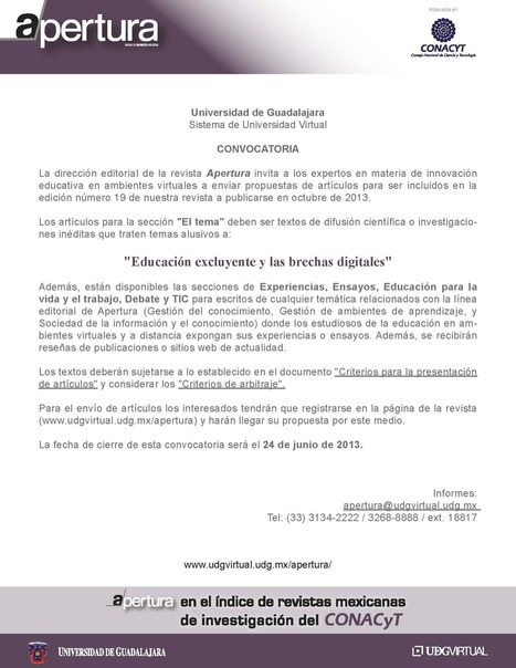 Convocatoria | Educación a Distancia y TIC | Scoop.it