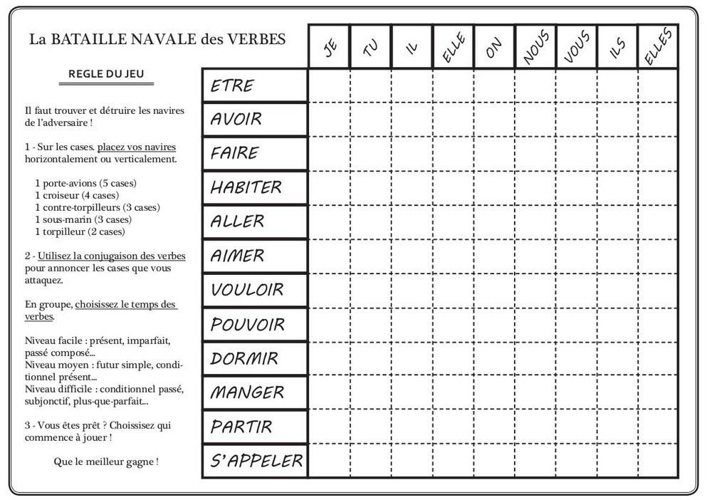 Pour la classe de francais - Grille de bataille navale a imprimer ...