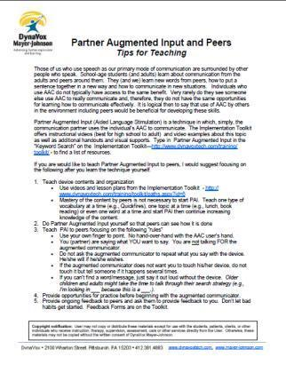 Partner Augmented Input - Tips for Teaching Peers   DynaVox   Aided Language Input   Scoop.it