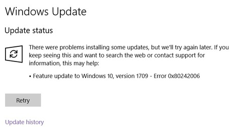 Feature update to windows 10 version 1709 faile