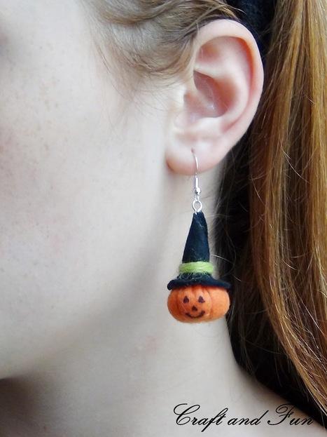 Halloween earrings, cucito creativo = zucche per orecchini | Orecchini Fai da Te: i migliori tutorial | Scoop.it