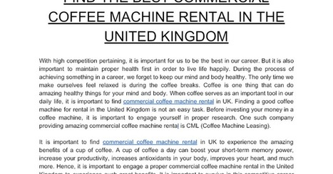 Find The Best Commercial Coffee Machine Rental
